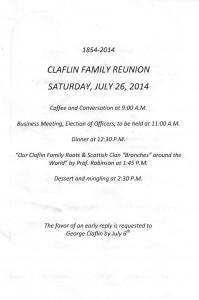 claflin reunion schedule 2014