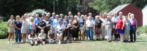 Family members gather on the Holliston, MA Historical Society grounds